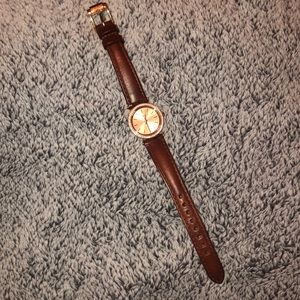 Rose Gold Leather Strap Michael Kors Watch